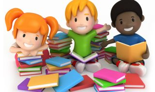 3D Render of Kids Surrounded by Books